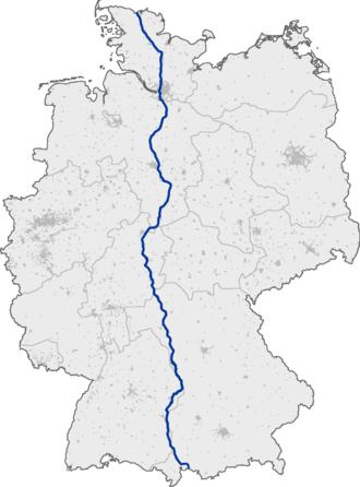 Bundesautobahn 7 - Image: Bundesautobahn 7 map