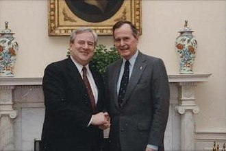 Jerry Falwell - Falwell with President George H. W. Bush in 1991