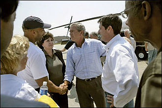Presidency of George W. Bush - New Orleans Mayor Ray Nagin, Louisiana Governor Kathleen Blanco, President Bush and Louisiana Senator David Vitter meet September 2, 2005 in the aftermath of Hurricane Katrina.