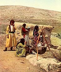 Ancient butter-making techniques were still practiced in the early 20th century. Picture taken from March 1914 National Geographic.