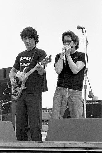 Paul Butterfield - With Rick Danko (left) on bass guitar at Woodstock Reunion 1979