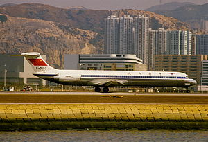 China Eastern Airlines Flight 5398 - Image: CAAC MD 82; B 2103@HKG, February 1986 BQE (4847993765)