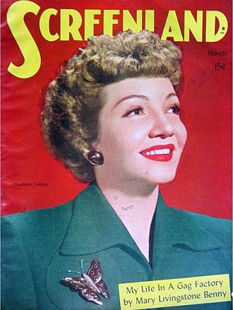 Colbert on Screenland cover before release of Guest Wife (1945) CLAUDETTE COLBERT Screenland.jpg