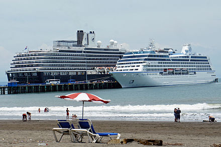 Cruise ships on call at Puntarenas Port in the Pacific. CRI 04 2013 Cruceros Puntarenas 6298.JPG