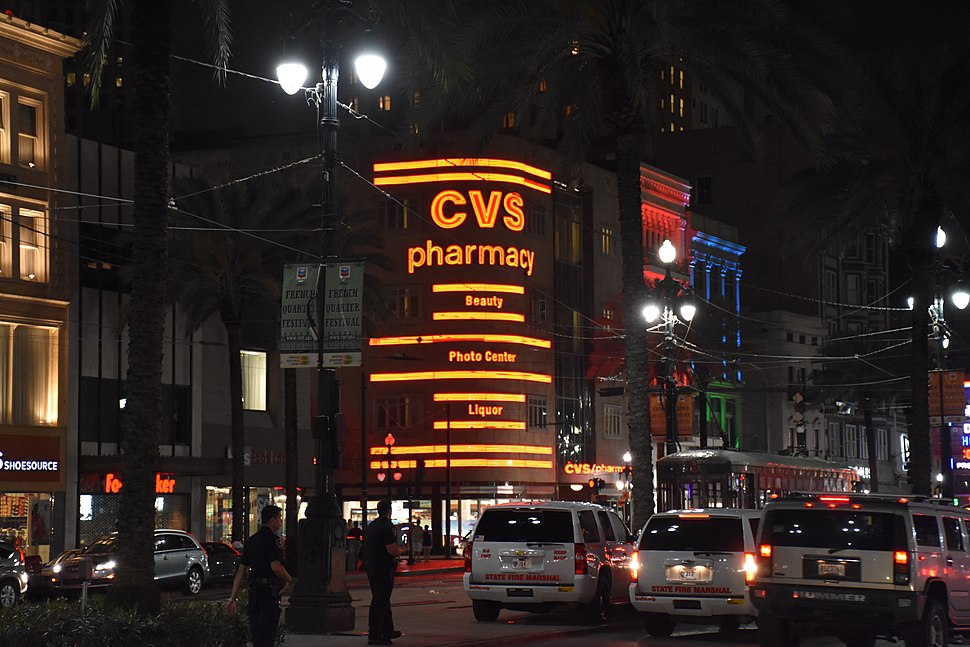 CVS on Canal Street in New Orleans at night