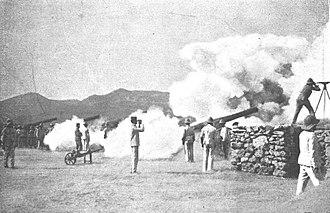 Second Melillan campaign - Image: Cañones de 15 centímetros haciendo fuego sobre Benisicar desde el Fuerte de Camellos, de Goñi (cropped)