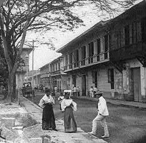 Spanish Filipino - Cabildo Street, Intramuros, Manila, 1890s