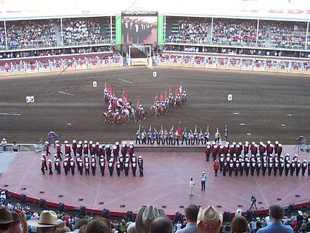 Stampede field with marching band onstage, 2007 Calgarystampede.jpg