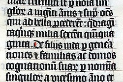 Blackletter in a Latin Bible of AD 1407, on display in Malmesbury Abbey, Wiltshire, England