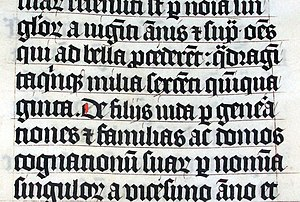Scribal abbreviation - Text sample from an early 15th-century Bible manuscript