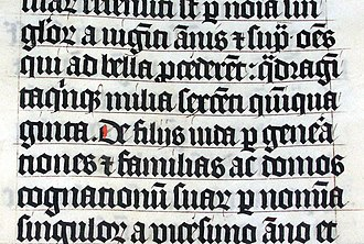 Calligraphy - Calligraphy in a Latin Bible of 1407 on display in Malmesbury Abbey, Wiltshire, England. This bible was hand written in Belgium, by Gerard Brils, for reading aloud in a monastery.