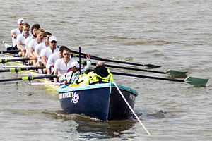 Cambridge VIII at their stake boat on the Surr...