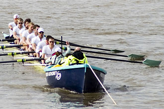 The Boat Race - Cambridge at their stakeboat, just prior to the race's commencement, 2009.