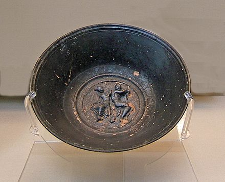 A relief depicting Mars and Venus on a black-slip bowl from Campania, Italy, 250-150 BCE, British Museum Campanian bowl with Mars and Venus.JPG