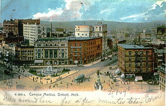 Detroit Opera House - Old Detroit Opera House (behind fountain) on Campus Martius in 1907.
