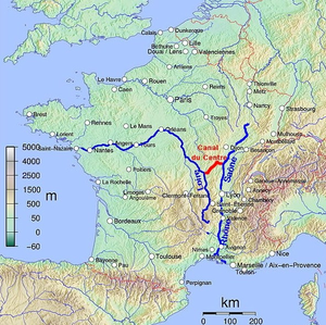 Canal du Centre (France) - Route of the canal