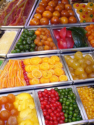 La Boqueria - Candied fruit displayed at La Boquería