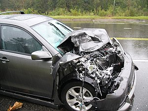 Crashed Toyota Matrix