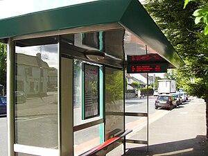 Bus transport in Cardiff - Bus stop in Llanishen displaying passenger information