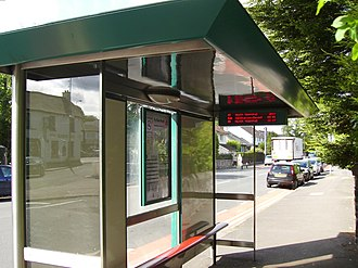 Bus transport in Cardiff - Bus stop in Llanishen displaying passenger information