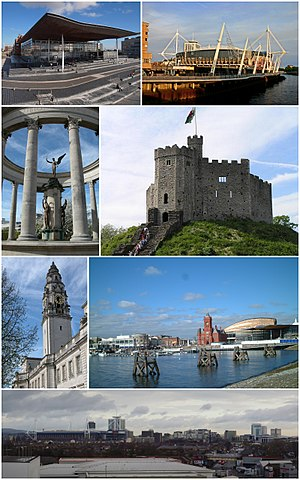 Cardiff - Clockwise from top left: The Senedd, Principality Stadium, Norman keep, Cardiff Bay, Cardiff City Centre, City Hall clock tower, Welsh National War Memorial