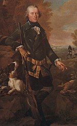 Painting shows a man in a dark coat holding a rifle and gesturing toward a dead rabbit. The man's dog looks on in this hunting scene.