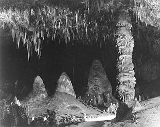 Carlsbad Caverns National Park - Rock of Ages in the Big Room, c. 1941; photo by Ansel Adams