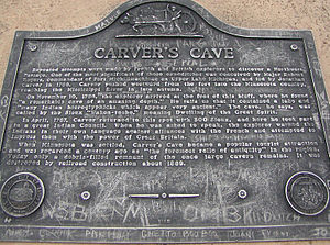 History of Saint Paul, Minnesota - Plaque above Carver's Cave