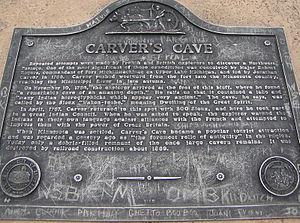History of Saint Paul, Minnesota - Plaque above Carver's Cave