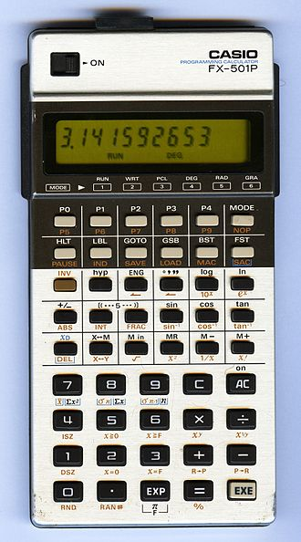 Casio FX-502P series - A Casio FX-501P in working condition displaying the number π
