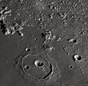 "Cassini (lunar crater) - Cassini and its satellite craters taken from Earth in 2012 at the University of Hertfordshire's Bayfordbury Observatory with the telescopes Meade LX200 14"" and Lumenera Skynyx 2-1"