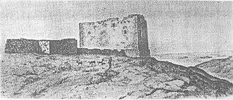 Castle of Ventimiglia - Ruins of the Castle of Ventimiglia in a representation by the prince of Torremuzza (1779).