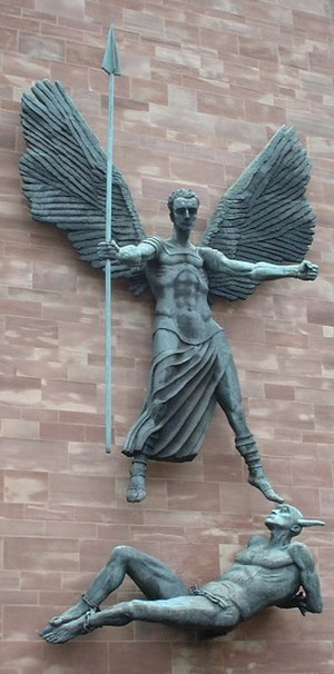 Wynne Godley - St Michael's Victory over the Devil, by Sir Jacob Epstein, the head of which was modelled on Wynne Godley