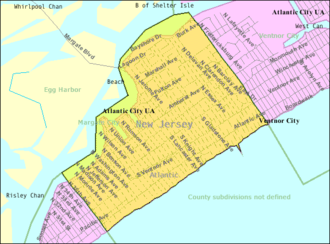Margate City, New Jersey - Image: Census Bureau map of Margate City, New Jersey
