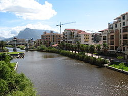 Main Canal within Century City, Table Mountain in the background