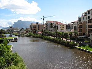 Century City, Cape Town - Main Canal within Century City, Table Mountain in the background