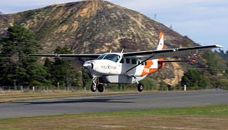 Picton Aerodrome - A Sounds Air aircraft arriving at Picton