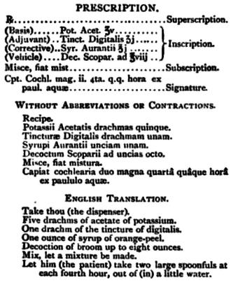 Medical prescription - An example prescription from 1907.