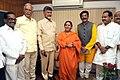 Chandrababu Naidu called on the Union Minister for Water Resources, River Development and Ganga Rejuvenation, Sushri Uma Bharati, in New Delhi. The Union Minister for Civil Aviation.jpg