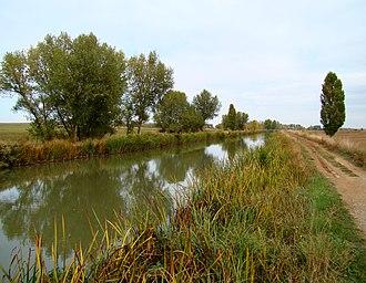Canal de Castilla - Canal of Castile as it flows east of Fromista