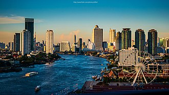 Bangkok - View of the Chao Phraya River as it passes through Bang Kho Laem and Khlong San districts