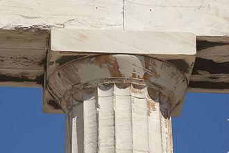 Capital (architecture) - Doric capital on the Parthenon.
