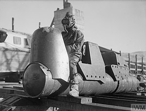 Chariot manned torpedo - A Mk.I Chariot (minus warhead), 3 March 1944, Rothesay © IWM (A 22119)