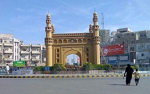 Hyderabadi Muslims - A replica of the Charminar built by Hyderabadi Muslims in Bahadurabad, Karachi, Pakistan