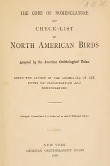 AOS Checklist Of North American Birds