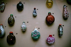 Snuff bottle - Chinese snuff bottles in the British Museum in London.