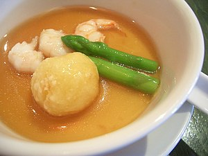 Chinese steamed eggs - Chinese steamed egg topped with broth and other ingredients