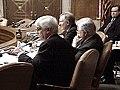 Chris Dodd, Edward Kennedy, and Jim Jeffords listen to panel testimony.jpg