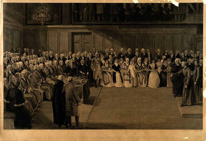 File:Christ's Hospital; the Great Hall during a ceremony. Engravi Wellcome V0014719.jpg