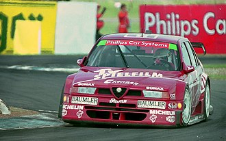 Christian Danner - Christian Danner -Schubel Engineering - Alfa Romeo 155 V6 TI 94 exits The Esses, Donington 1994 DTM
